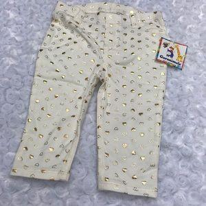 Heart print pull on legging pants 3-6 mo